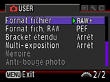 Activer le format RAW